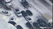 คลิป เกิดเหตุรถชนต่อเนื่องบนทางหลวงของรัฐออนแทรีโอ แคนาดา  ยาวติดกันถึง 96 คัน