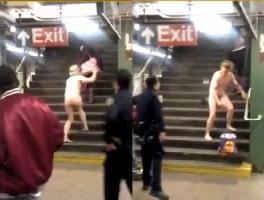 หนุ่ม คลั่ง แก้ผ้า อาละวาด ใน รถไฟใต้ดิน มหานคร นิวยอร์ก