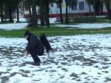 คลิป ตลก ขำขำ น้องหมา สุนัข มันหนาว ไม่กล้าเดิน