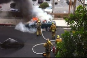 Car Explosion in Los Angeles ไฟไหม้รถ