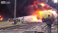 รถไฟบรรทุกน้ำมันระเบิด ที่  Ukraine