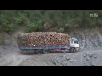 ถนนสุดโหด รถบรรทุกไม้ จีน